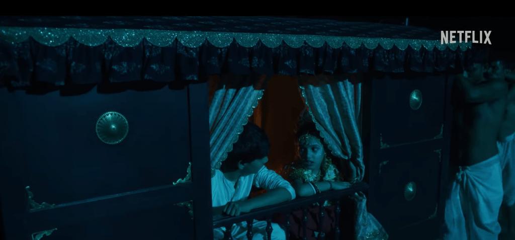Ruchi Mahajan and Varun Paras Buddhadev in a still from the movie Bulbbul by Netflix